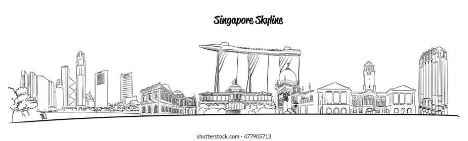 Singapore Hand drawn Vector Skyline, Famous Destination Landmark