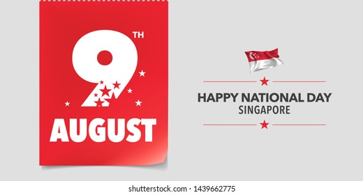 Singapore happy national day greeting card, banner, vector illustration. Singaporean day 9th of August background with elements of flag in a creative horizontal design