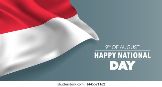Singapore happy national day greeting card, banner with template text vector illustration. Singaporean memorial holiday 9th of August design element with flag with stripes and stars