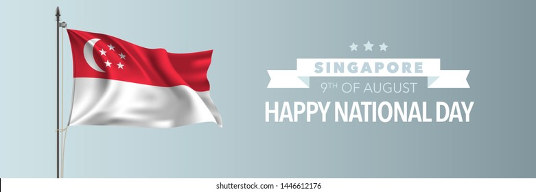 Singapore happy national day greeting card, banner vector illustration. Singaporean holiday 9th of August design element with waving flag on flagpole