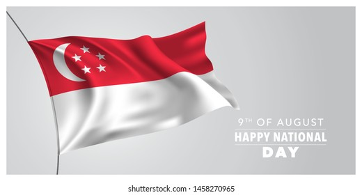 Singapore happy national day greeting card, banner, horizontal vector illustration. Singaporean holiday 9th of August design element with waving flag as a symbol of independence