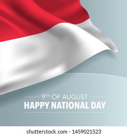 Singapore happy national day greeting card, banner, vector illustration. Singaporean day 9th of August background with elements of flag, square format