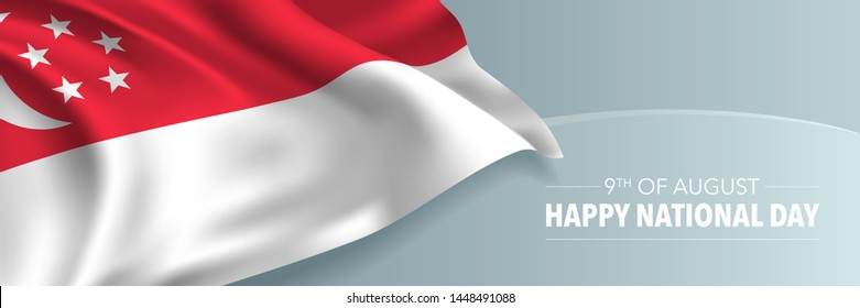 Singapore happy national day vector banner, greeting card. Singaporean wavy flag in 9th of August national patriotic holiday horizontal design
