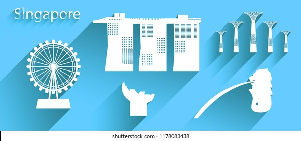 Singapore icon or symbol with long shadow, Travel banner with marina bay sands tower and iconic modern building merlion all in silhouette style on blue background, Modern design by vector illustration