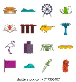 Singapore icons set. Doodle illustration of vector icons isolated on white background for any web design