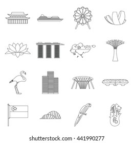 Singapore icons set in outline style. Illustration of Singapore icons vector thin line isolated on white background
