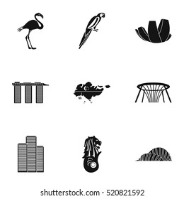 Singapore icons set. Simple illustration of 9 Singapore vector icons for web
