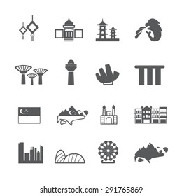 Singapore icons set, Vector
