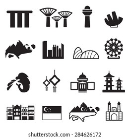 Singapore icons set,Vector