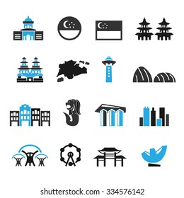 Singapore icons set,Vector