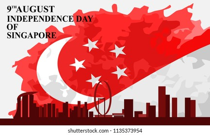 Singapore independence day vector illustration. Suitable for greeting card, poster and banner.