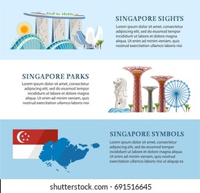 Singapore info banners about architecture sights symbols of the country