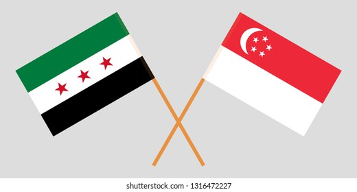 Singapore and Interim Government of Syria. The Singaporean and Coalition flags. Official colors. Correct proportion. Vector illustration