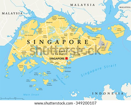 Australia Political Map With Capitals.Singapore Island Political Map Capital Singapore Stock Vector