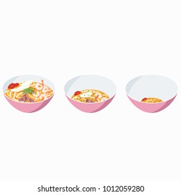 Singapore Laksa in different stages of being eaten, great for animation purposes