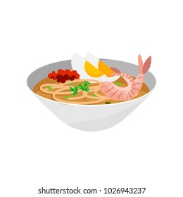 Singapore Laksa noodle soup plate vector illustration on the white background. A bowl of Asam Laksa or famous Penang food. Isolated national dishes icon.