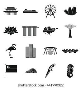 Singapore landmark icons set. Simple illustration of Singapore landmark vector icon isolated on white background