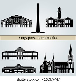 Singapore landmarks and monuments isolated on blue background in editable vector file