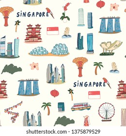 Singapore line design with city attractions. Travel vector seamless pattern for tourist guides, flyers, textile.