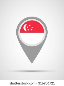 Singapore location and flag application, vector illustration, abstract, graphic design