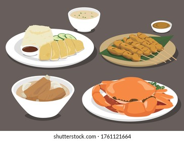 Singapore / Malaysia Food Collection. Hainanese chicken rice, Bak kut teh, chili mud crab, Chicken Satay with Sauce Peanuts