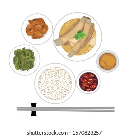 Singapore and malaysian food - set of bak kut teh with rice