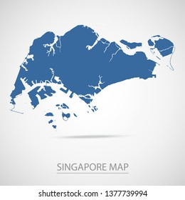 Singapore map. Blue Singapore map and Country name . Vector map on gray background. Symbol for your web site design map logo. app, ui, Travel vector eps10, concept Illustration.