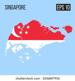 Singapore map border with flag vector EPS10
