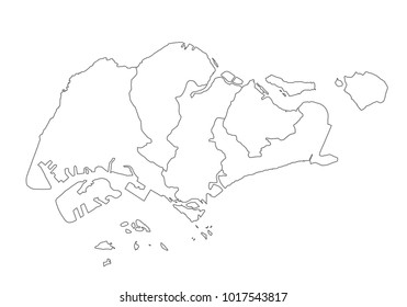 singapore map with country borders, thin black outline on white background. High detailed vector map with counties/regions/states - singapore. contour, shape, outline, on white.