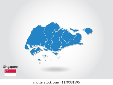 Singapore map design with 3D style. Blue Singapore map and National flag. Simple vector map with contour, shape, outline, on white.