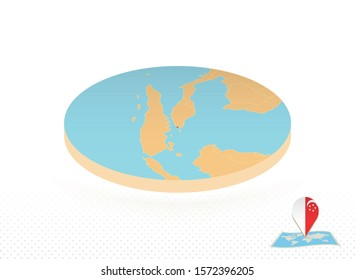 Singapore map designed in isometric style, orange circle map of Singapore for web, infographic and more.