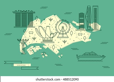 Singapore map in flat line design with top city attractions. Travel vector illustration and concept for infographic, banner, tourist guide