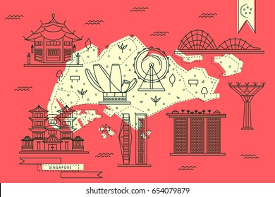Singapore map in flat line design with top-rated city attractions in red and yellow color. Travel vector illustration for tourist guides, flyers, banners and web design.