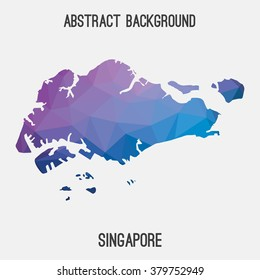 Singapore map in geometric polygonal style.Abstract tessellation,modern design background. Vector illustration EPS8