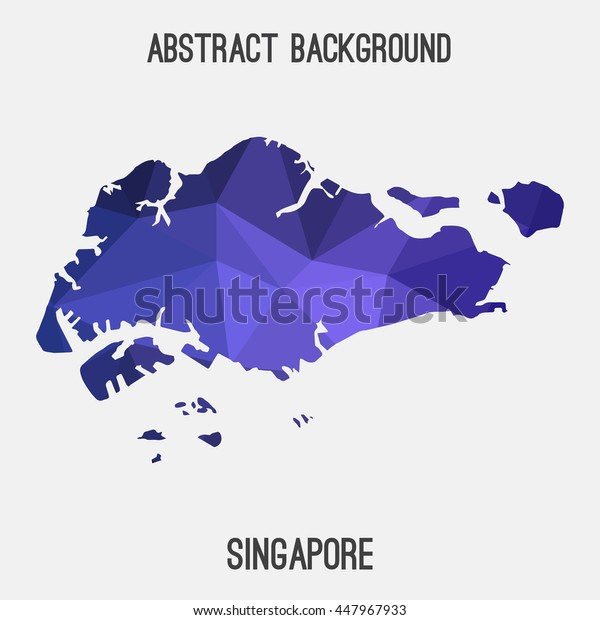 Singapore map in geometric polygonal,mosaic style.Abstract tessellation,modern design background. Vector illustration EPS8