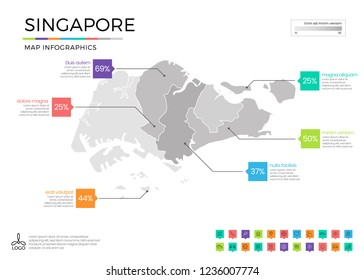 Singapore map infographics with editable separated layers, zones, elements and district area in vector