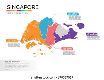 Singapore map infographics vector template with regions and pointer marks