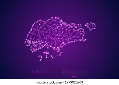 Singapore Map mash line and point scales on purple technology background. Wire Frame 3D mesh polygonal network line, design sphere, dot and structure -  Vector illustration eps 10