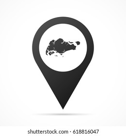 Singapore Map on location pin. Map pointer isolated on a white background. Conceptual vector illustration.