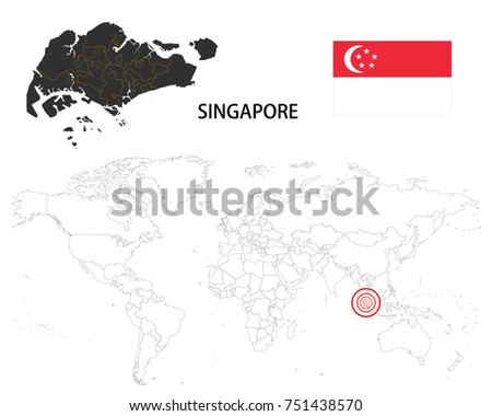 Singapore Map On World Map Flag Stock Vector (Royalty Free ...