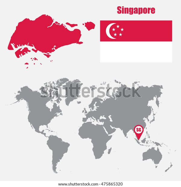 Singapore Map On World Map Flag Stock Vector Royalty Free 475865320