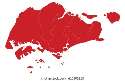 Singapore map  red color