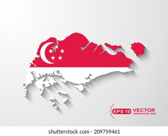 Singapore  map with shadow effect