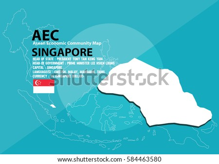 Singapore Map Singapore Southeast Asia Aec Stock Vector Royalty