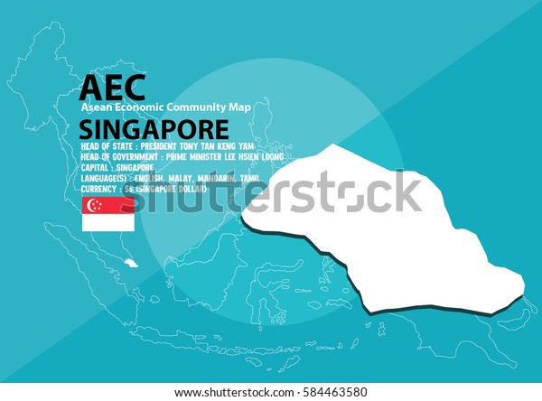 Singapore Map Singapore Southeast Asia Aec Stock Vector (Royalty ...