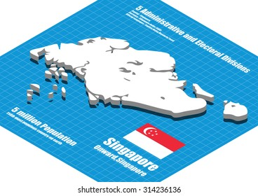 Singapore map vector three dimensional