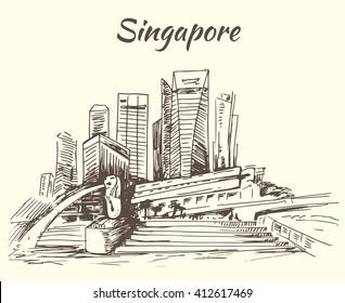 Singapore Marina Bay and Merlion