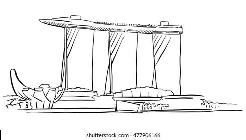 Singapore Marina Bay Outline Sketch, Famous Destination Landmark, Hand drawn Vector Artwork