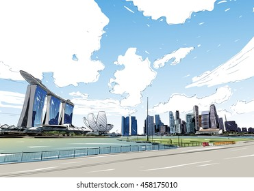 Singapore. Marina Bay Sands. Unusual perspective hand drawn sketch. City vector illustration