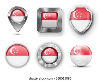 Singapore Metal and Glass Flag Badges, Buttons, Map marker pin and Shields. Vector illustrations
